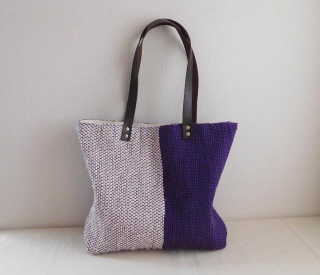 裂き織りバッグ 紫