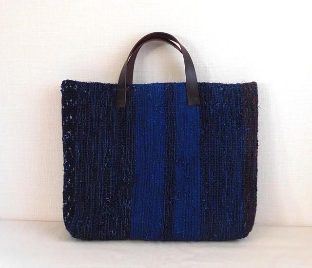 藍染め裂き織りバッグ