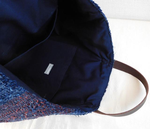 裂き織りバッグ 藍染め