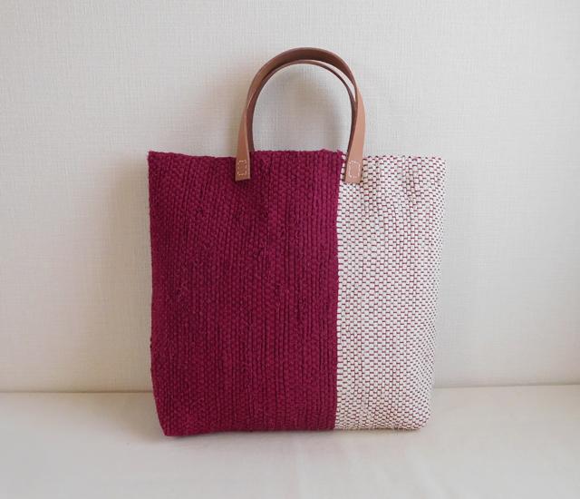 裂き織りバッグ ローズ