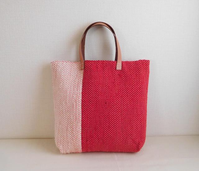 裂き織りバッグ いちご