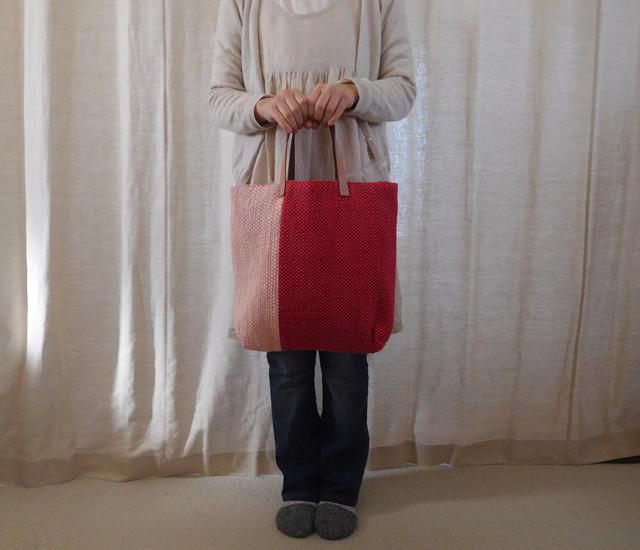 裂き織りバッグ さんご